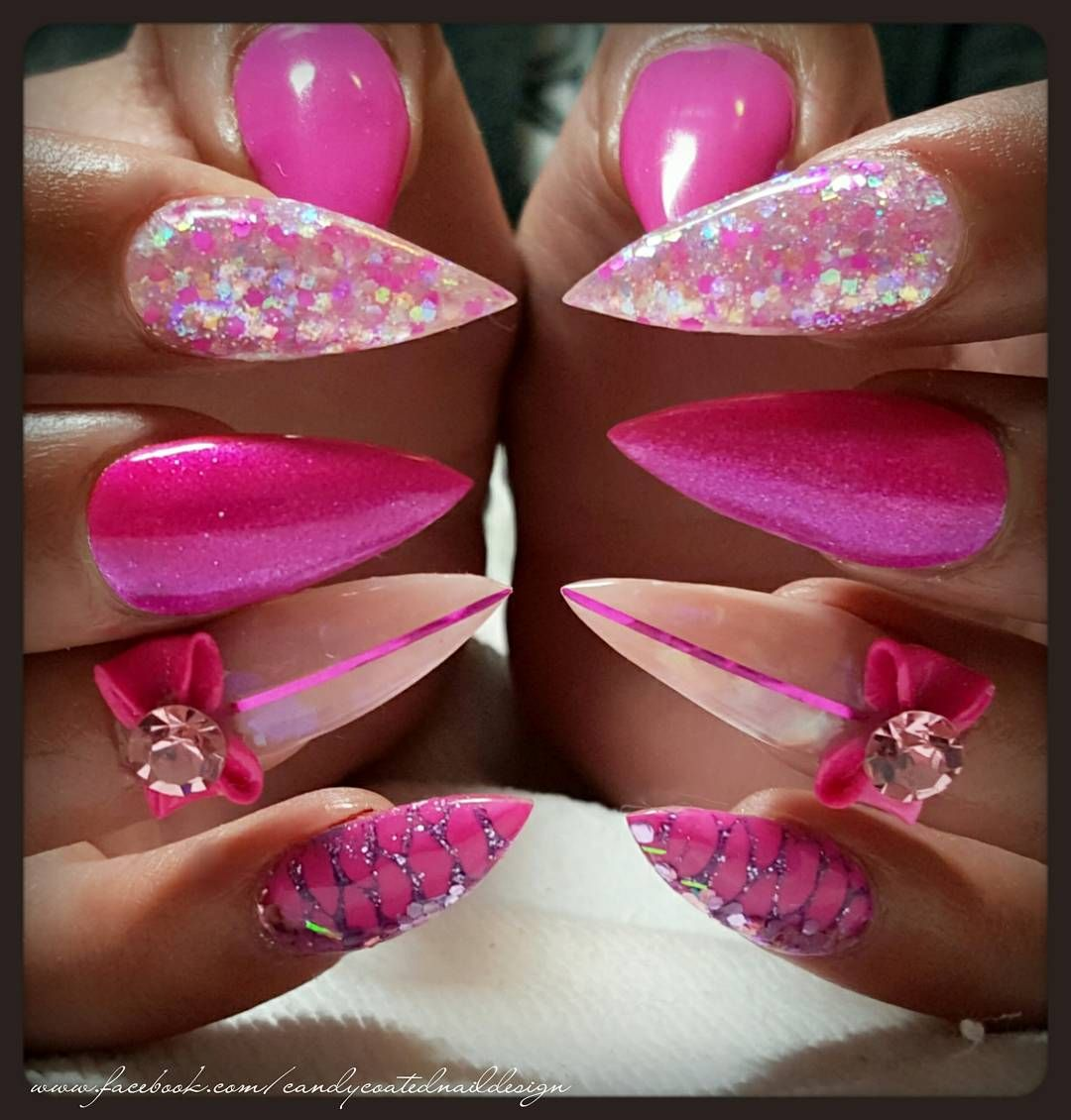 """""""#ThrowBackThursday to these funky pink claws! Had fun doing them with sparkles from @glitter_heaven_australia, @gellyfit gel polish and 3D handfolded…"""""""