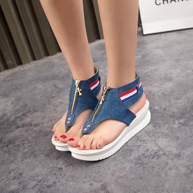 MIUBU 3cm platform open toes Flat Sandals Women New Summer