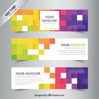 banners template with colorful pixels vector pinterest
