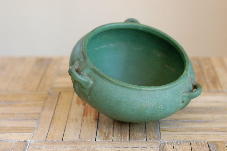 Arts Crafts Matte Green Glazed Roseville Pottery Hanging Planter