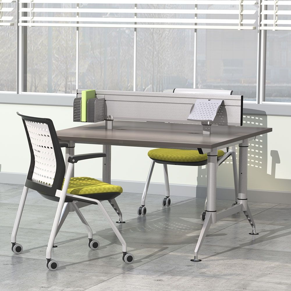 Dual Sided Two Person Workstation With Privacy Panel National