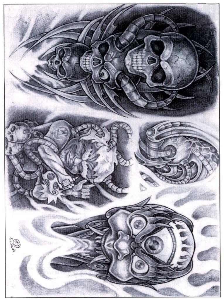 Grey Ink Biomechanical Skull Tattoo Designs Alien Tattoo Biomechanical Tattoo Tattoo Drawings