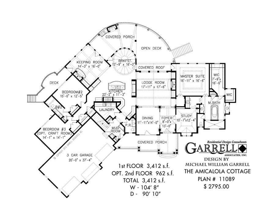 Amicalola Cottage 3412 House Plan 11089, 1st Floor Plan, Mountain ...