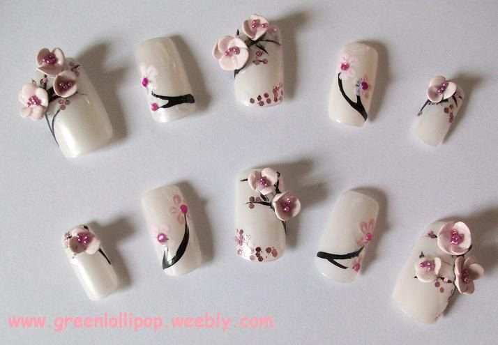 Japanese 3D Nail Art Set - Cherry Blossoms. | Nails nails nails ...