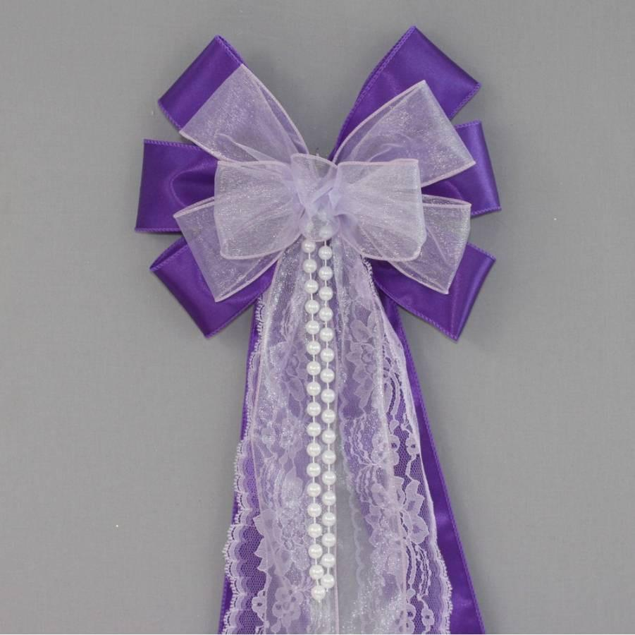 Lavender Sheer Purple Lace Pearl Wedding Pew Bow Purple Wedding