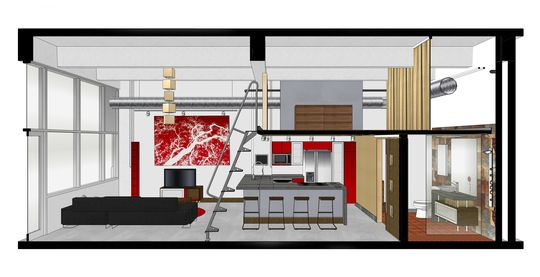 plan de coupe d un petit loft avec mezzanine plans. Black Bedroom Furniture Sets. Home Design Ideas