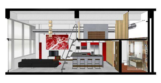 Plan de coupe d\'un petit loft avec mezzanine | plans | Pinterest ...