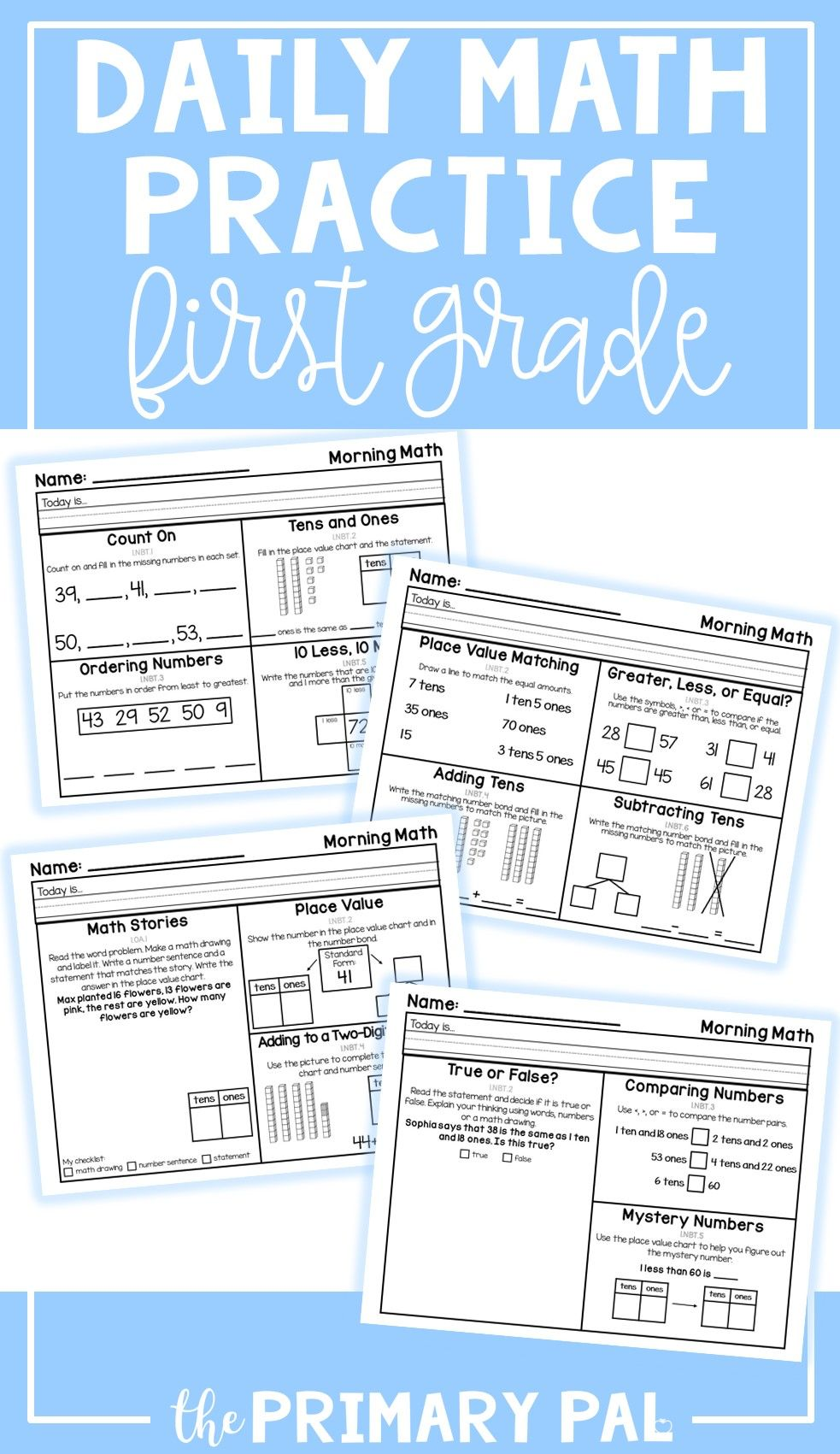 Perfect For Establishing A Daily Routine That Supports The Development Of Math Skills In 1st Math Fact Practice Daily Math Practice First Grade Math Worksheets [ 1701 x 983 Pixel ]