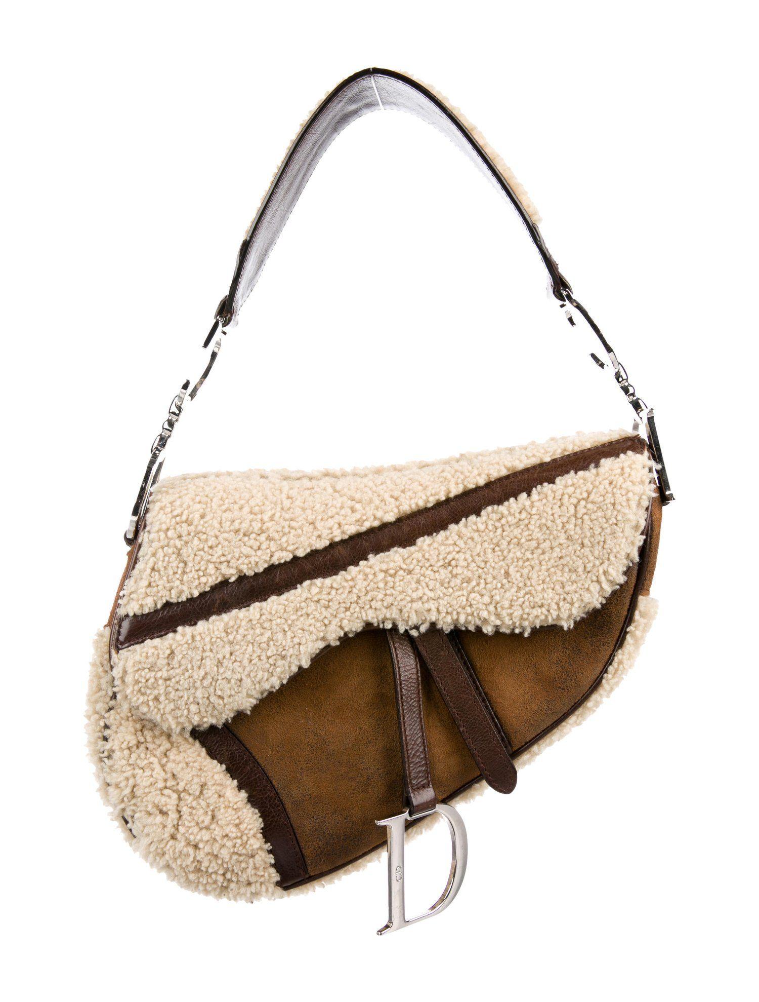 a6abaea696c8d0 Christian Dior Shearling Saddle Bag - Handbags - CHR89370 | The RealReal