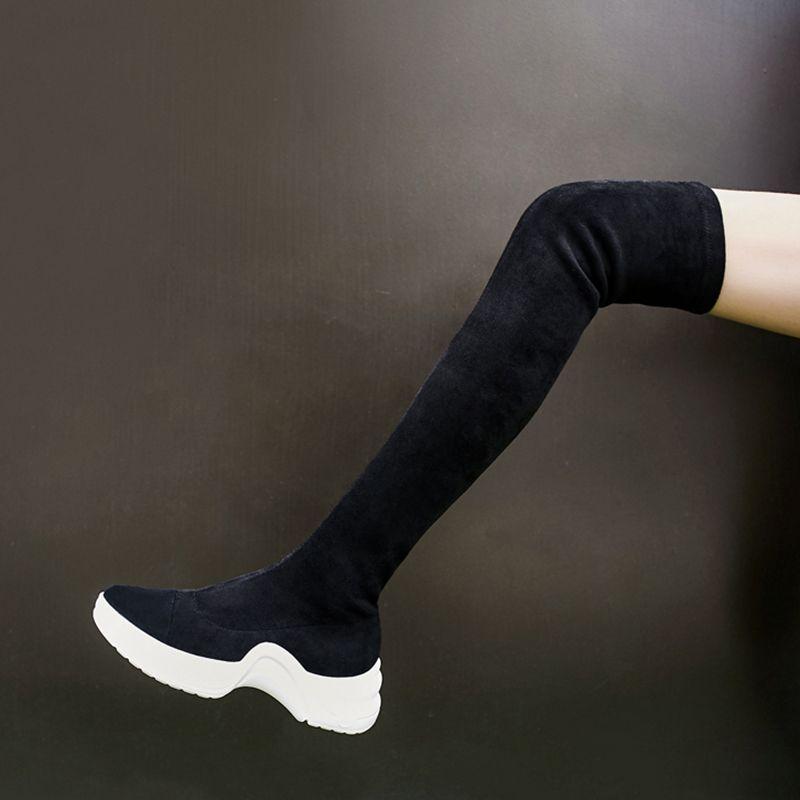 e1df6998091 Chiko Dawn Thigh High Sneaker Boots Metallic Heels