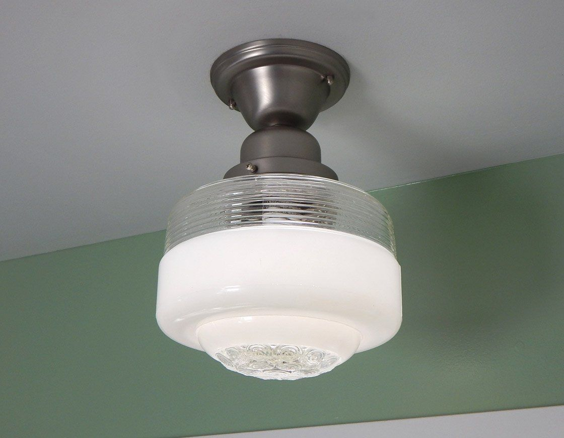 Semi flush ceiling light vintage glass shade new satin nickel semi flush schoolhouse ceiling light featuring a thick vintage molded glass shade and a new satin nickel fixture base the glass shade is in good condition arubaitofo Gallery