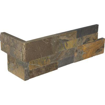 """MSI Rustic 6"""" x 24"""" Corner L-Panel Random Sized Natural Stone Splitfaced Tile in Gold (Set of 4)"""