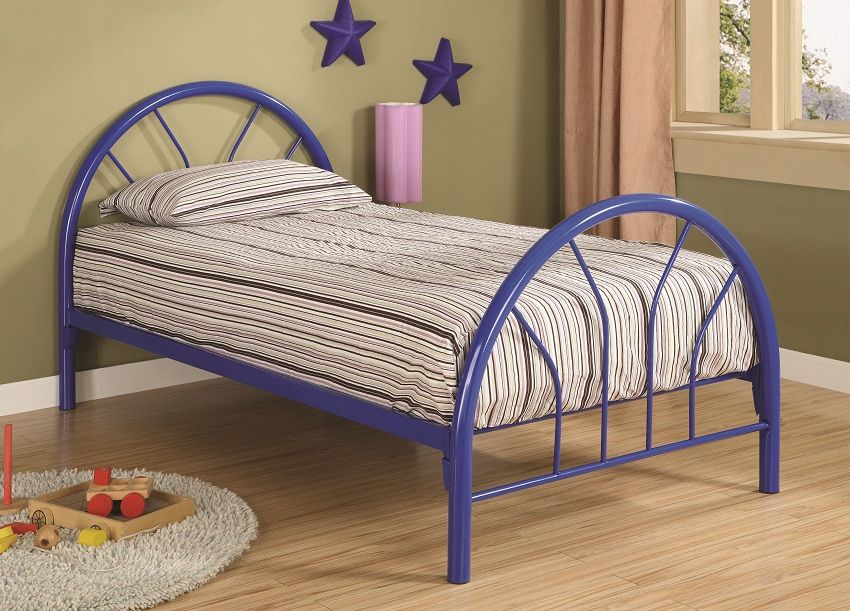 Harvey Collection 2389n Blue Twin Bed Frame Krovati Krovat
