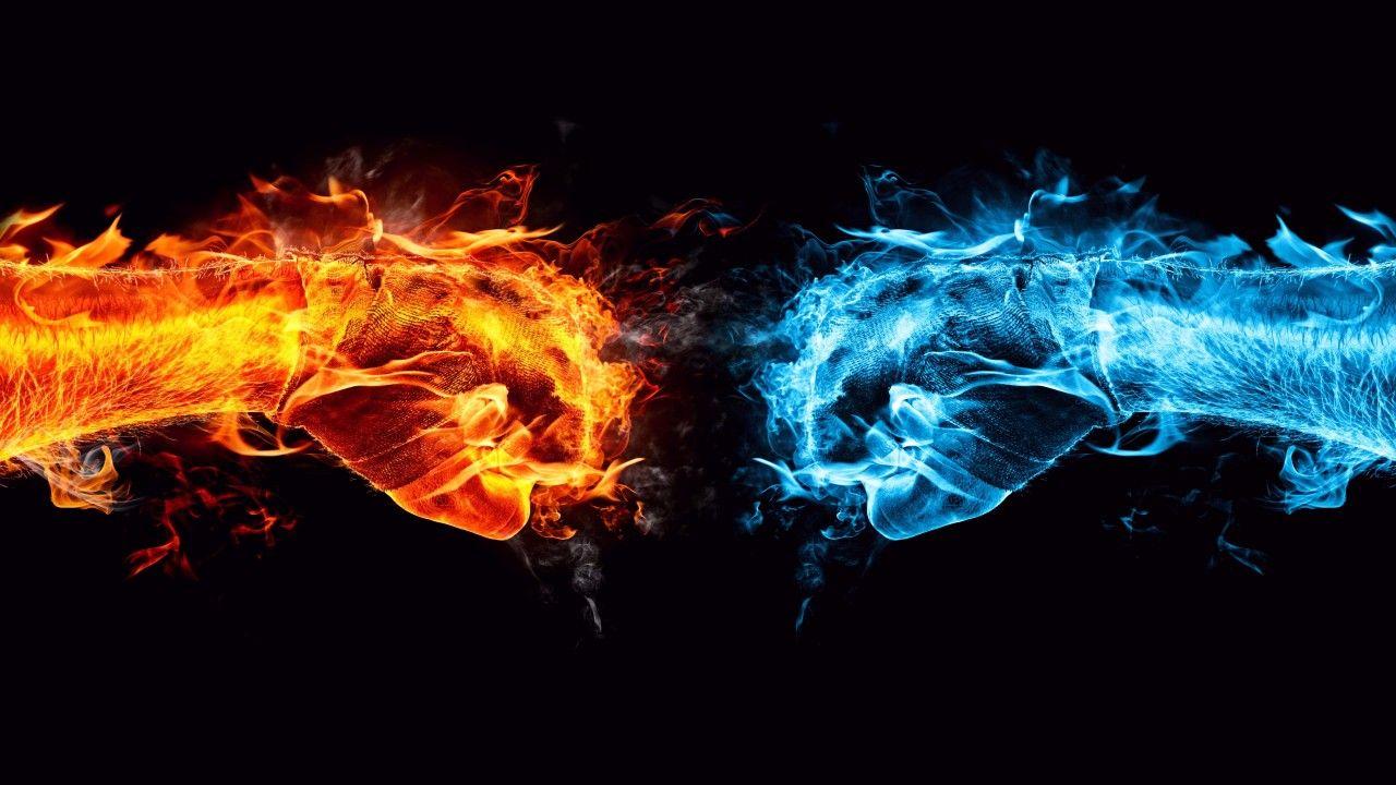 Hands 4k 5k Wallpaper 8k Fight Kick Orange Blue Fire Horizontal Cool Desktop Wallpapers Fire Art Cool Backgrounds