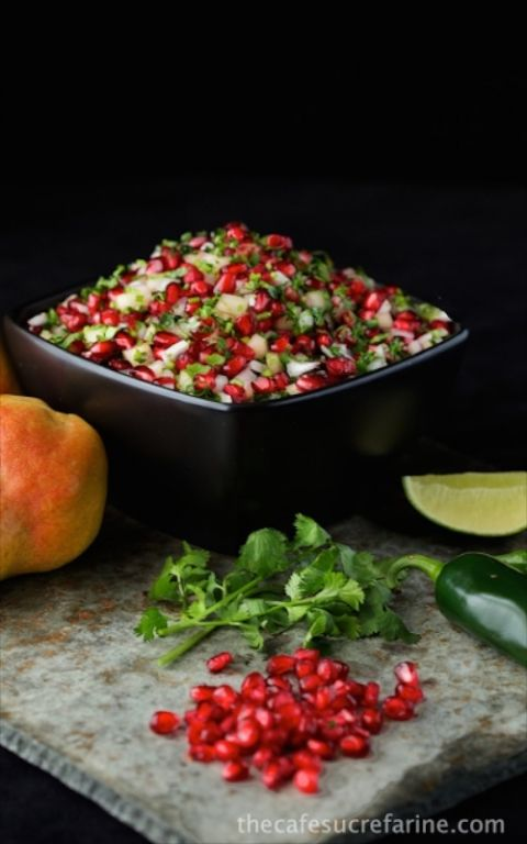 Pear and Pomegranate Salsa - a seasonal favorite that will be sure to bring ooohs and ahhhhs for it's taste and beautiful appearance. Great for an appetizer or spooned over pan-seared salmon.