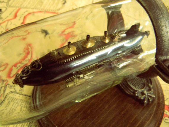 Handmade Airship In A Bottle - Amazing Handmade Steampunk Decor