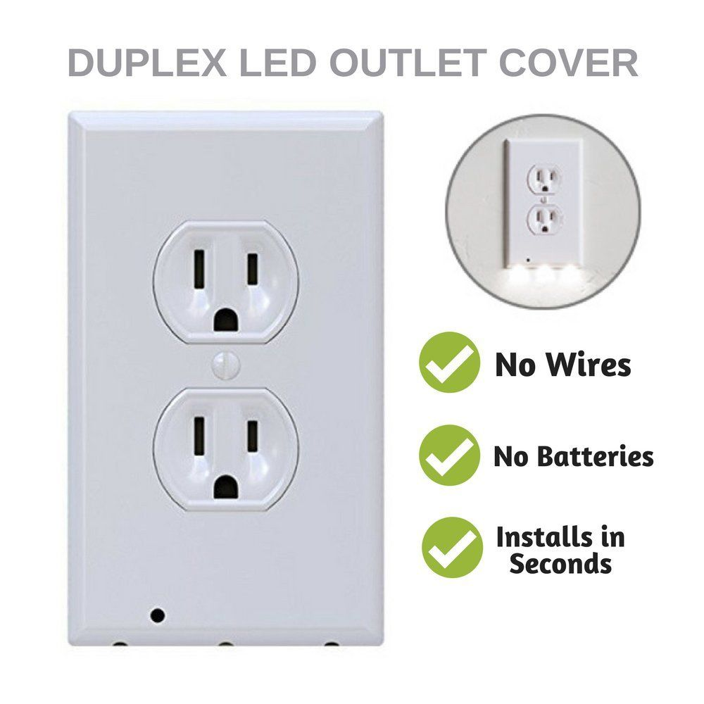 Outlet Wall Night Light LED Cover - No Wires, No Batteries, Easy ...