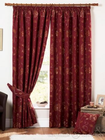 Red Venice Heavy Weight Luxury Jacquard Curtain Curtains Luxury