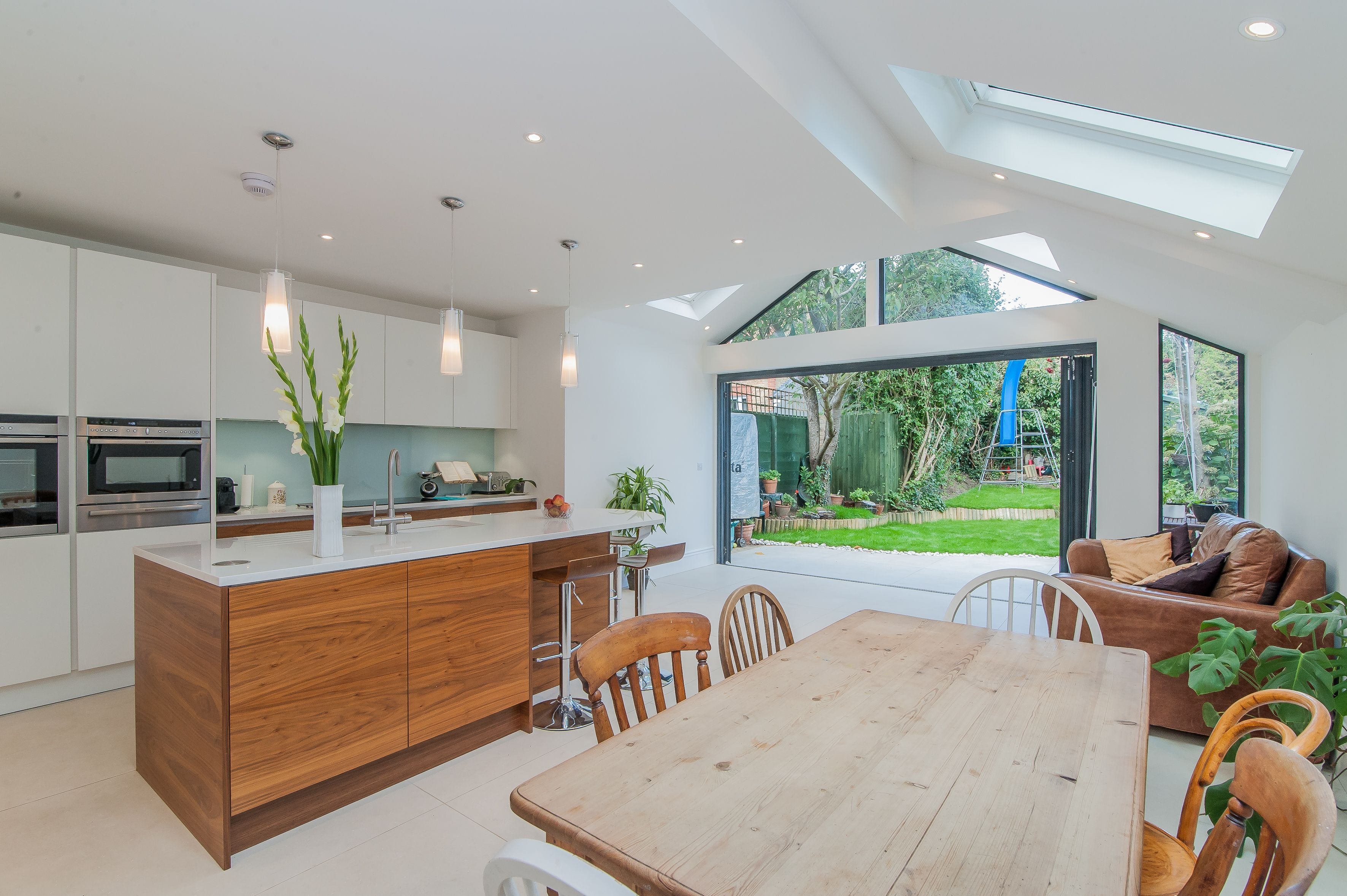 Long kitchen tables  White and Wood kitchen extension  Extension  Pinterest  Norman