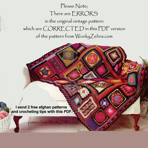 Un modelo vintage de los años 70 para hacer una manta de afgano de ...