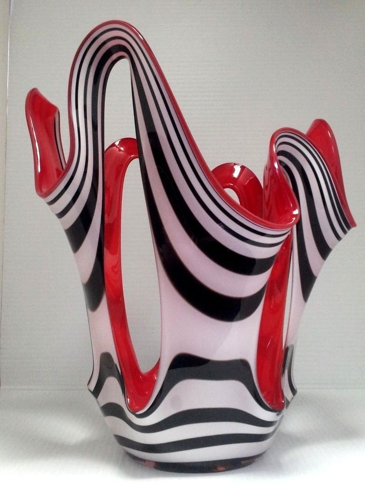 Polish Glass Poland Vase Art Hand Blown Made Red Tall X Large Loop