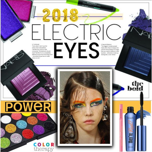 Electric Eyes 2018 - TBS 1.March by crochetragrug on Polyvore featuring polyvore, beauty, Benefit, Too Faced Cosmetics and Therapy