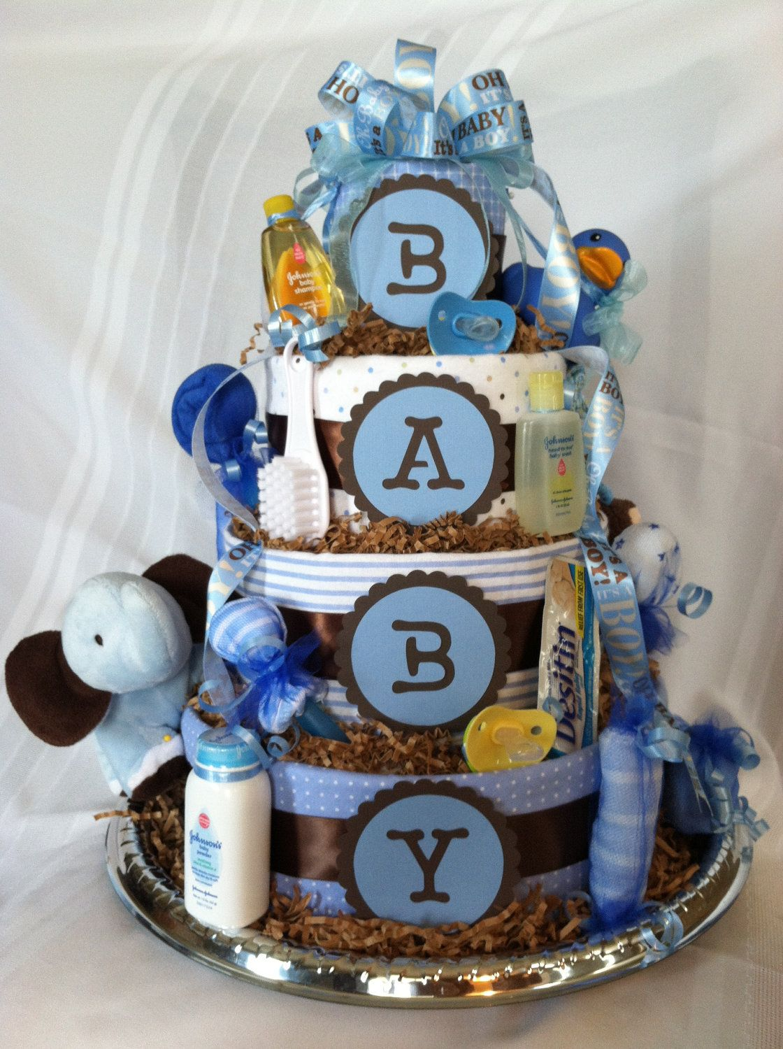 Boy Diaper Cake: Blue Brown. $119.00, via Etsy.