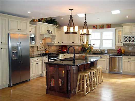 Glazed Maple Kitchen Cabinets With Dark Island Kitchen Layout Kitchen Remodel Kitchen Cabinets