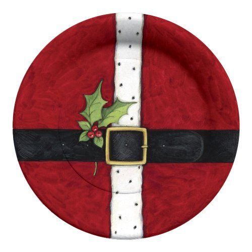 christmas decorated paper plates 10 5 inch 8 pack santa 39 s belt pottery ideas pinterest. Black Bedroom Furniture Sets. Home Design Ideas