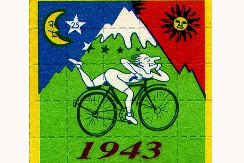 psychedelic goa acid artwork ALBERT HOFMANN BIKE RIDE 1943 blotter art