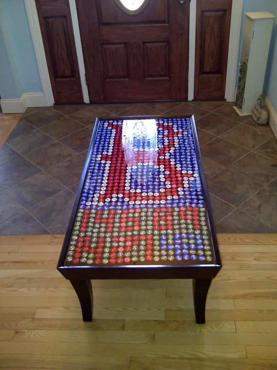 Items Similar To Beer Bottle Cap Boston Red Sox Design Coffee Table  (Practical Art) On Etsy