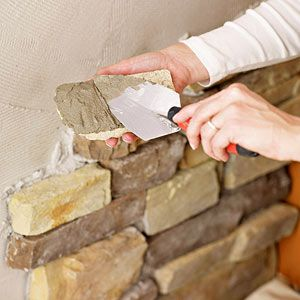 Perk Up An Old Fireplace With This DIY Fireplace Remodeling Project That  Uses Stone Veneer To
