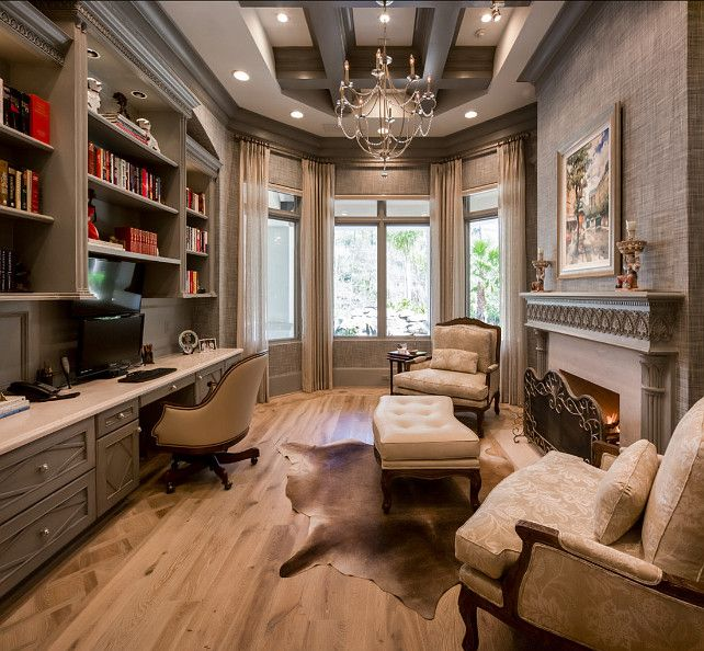 A Comfortable, Elegant Home Office With Exquisite Lighting