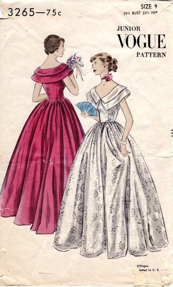 1940s Juniors Evening Dress Pattern – Vintage Vogue 3265 – Size 9