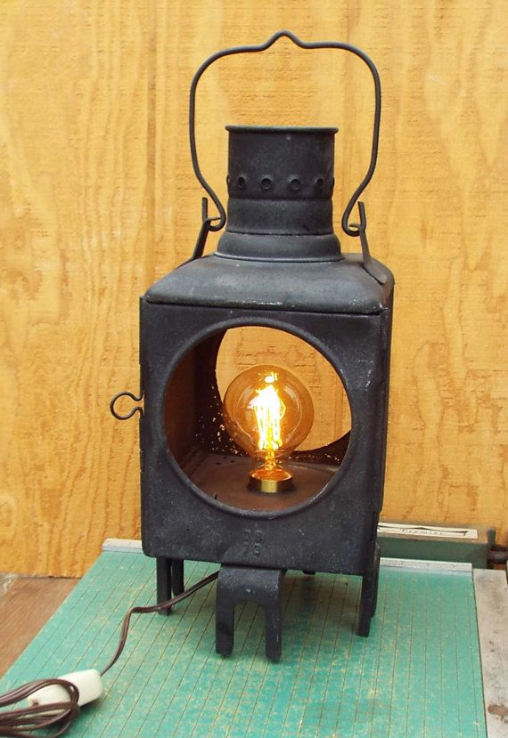 Vintage Railroad Signal Light Desk Lamp Industrial Man Etsy Diy Lamp Electric Bulb Lamp