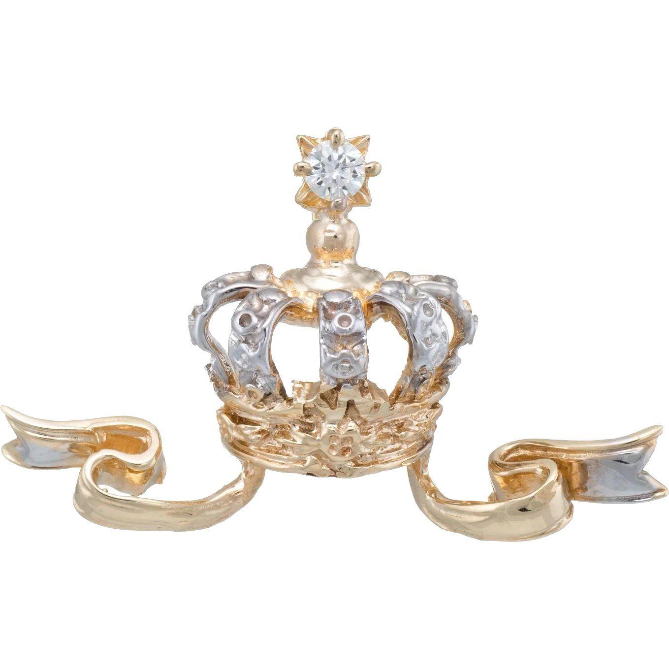 Diamond Crown Pendant Vintage 14k Yellow Gold Tiara Estate