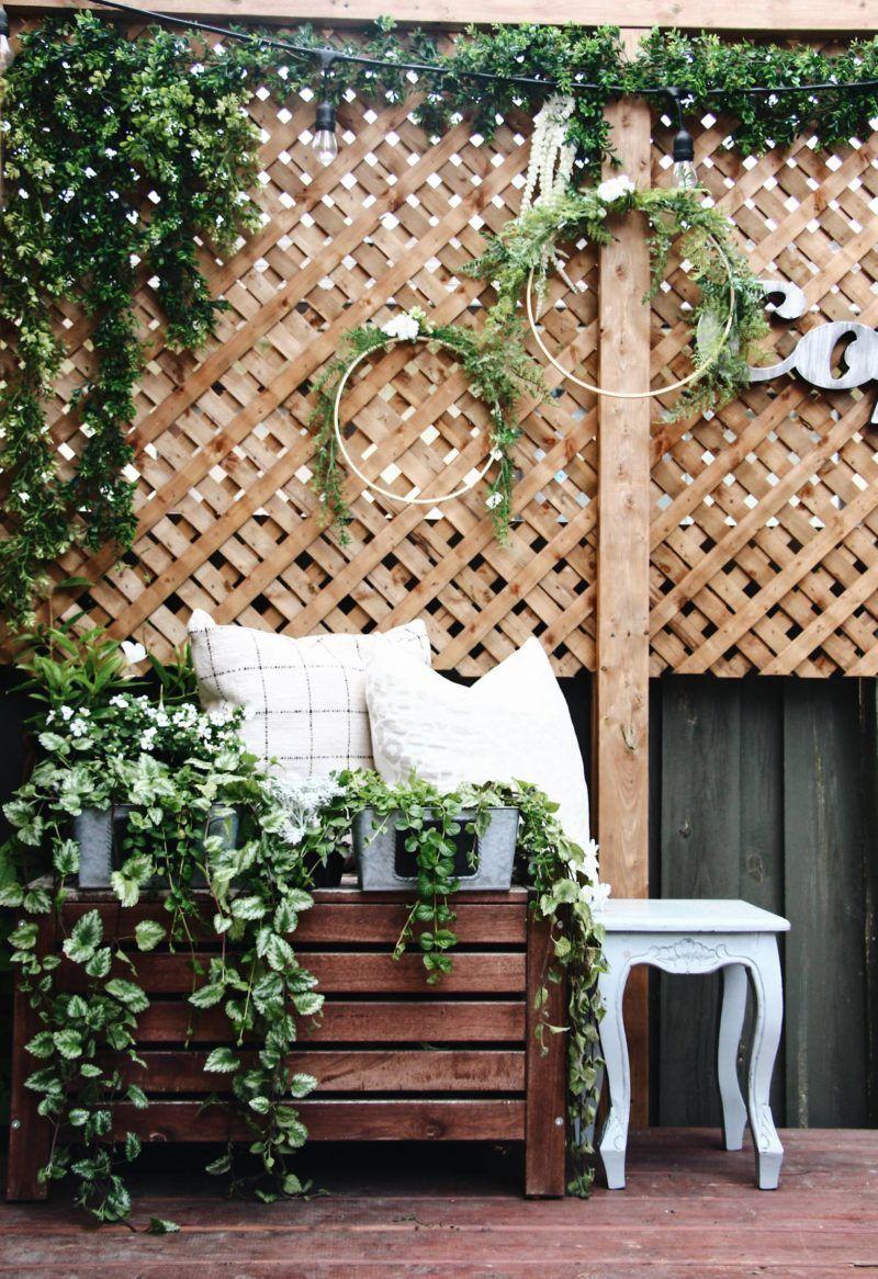 Oh My Dear Blog Lattice Wall Decor Deck Decor Embroidery Hoop Diy Backyard Design Diy Wreath Deck Decorating Lattice Wall Backyard Design