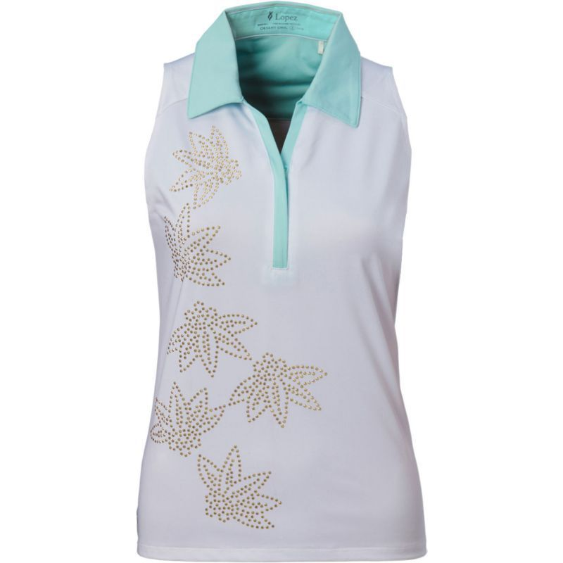 Women's Nancy Lopez Wish Sleeveless Golf Polo, Size: XL, White