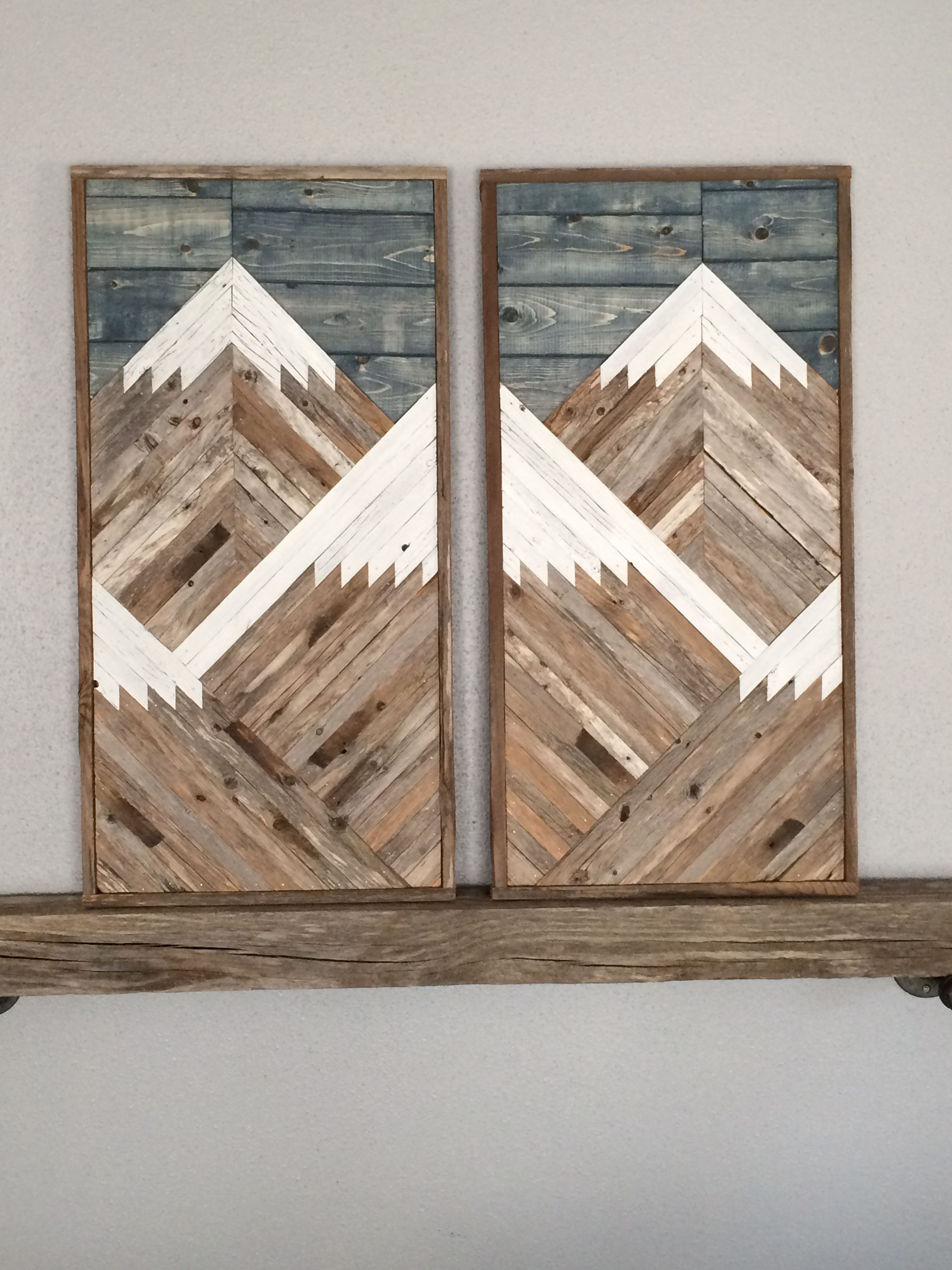 Custom 2 Piece Rustic Mountain Tops With Blue Stained Sky Pallet Wall Art Mountain Wood Art Wine Wall Art