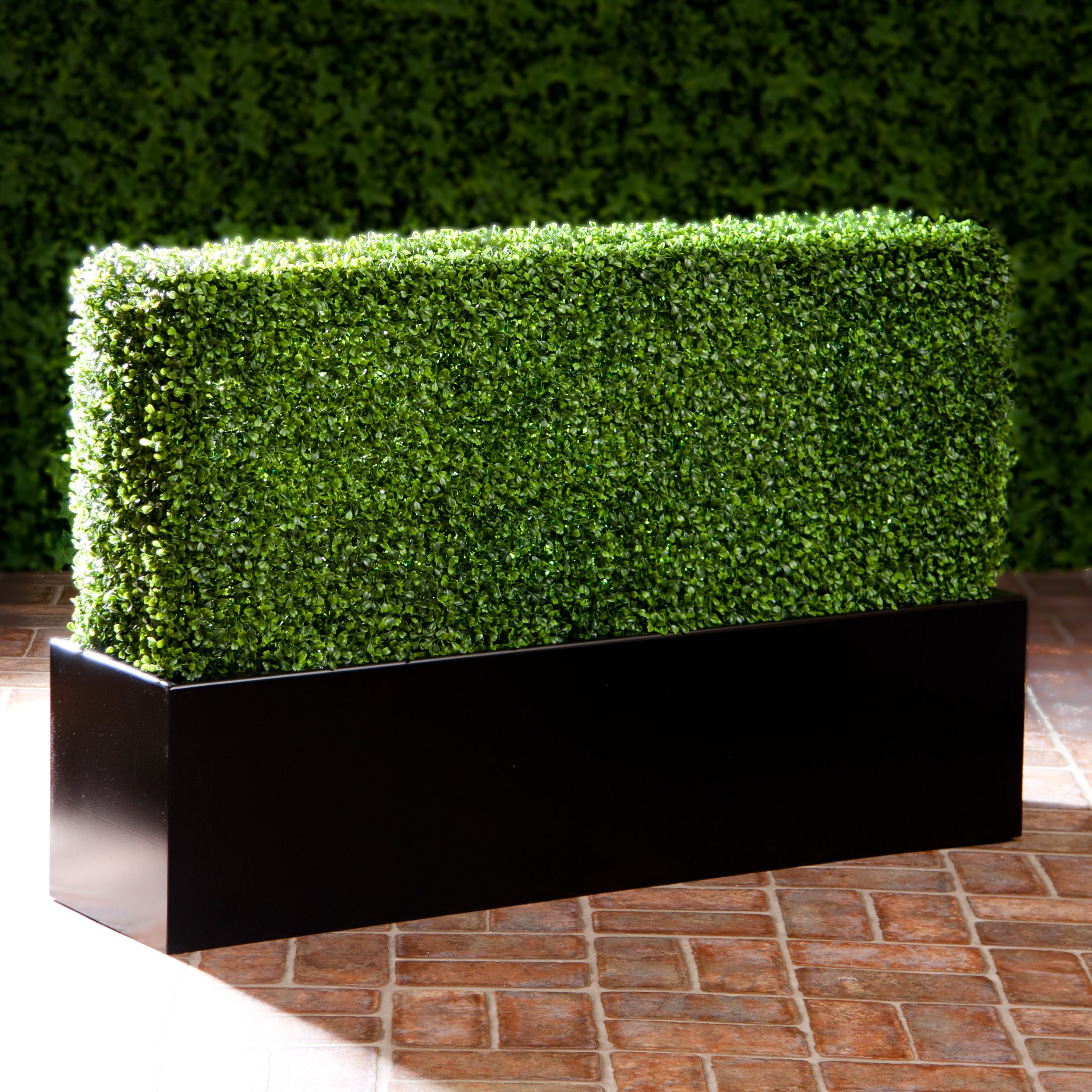 Artificial Boxwood Hedge In Modern Fiberglass Planter With