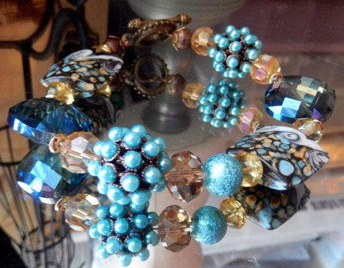 One of a Kind Brass Crystal and Lampwork Glass Plus by bijoullery