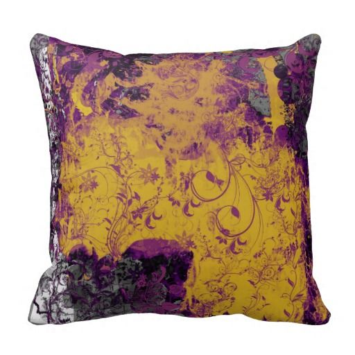 Gothic floral style yellow and purple cushion pillow