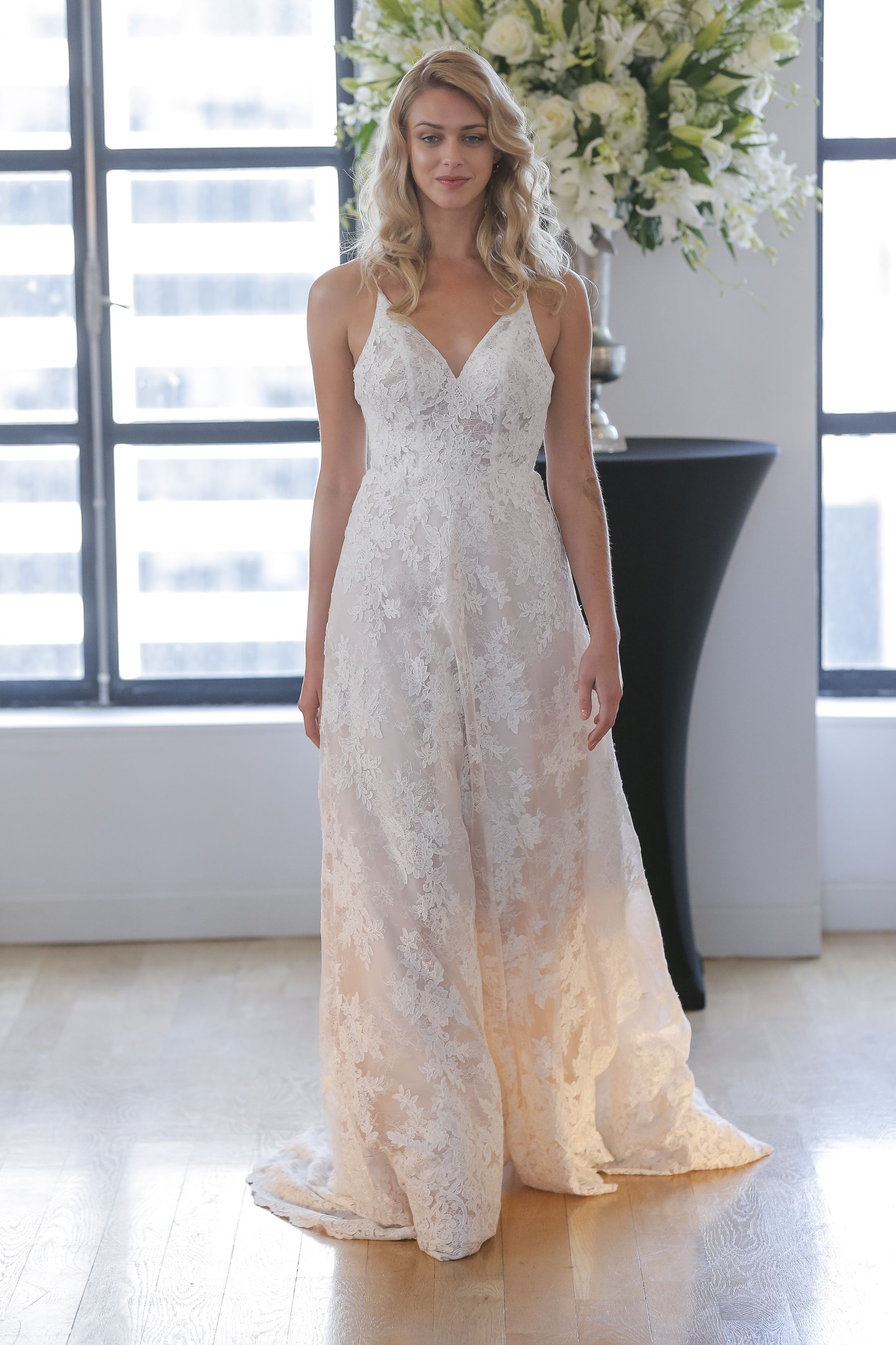 8a419ff50 MAIA Kelly Faetanini Fall 2018 wedding dress | Chantilly Lace and  Embroidery V-Neck Ball Gown with Illusion Lace Backline