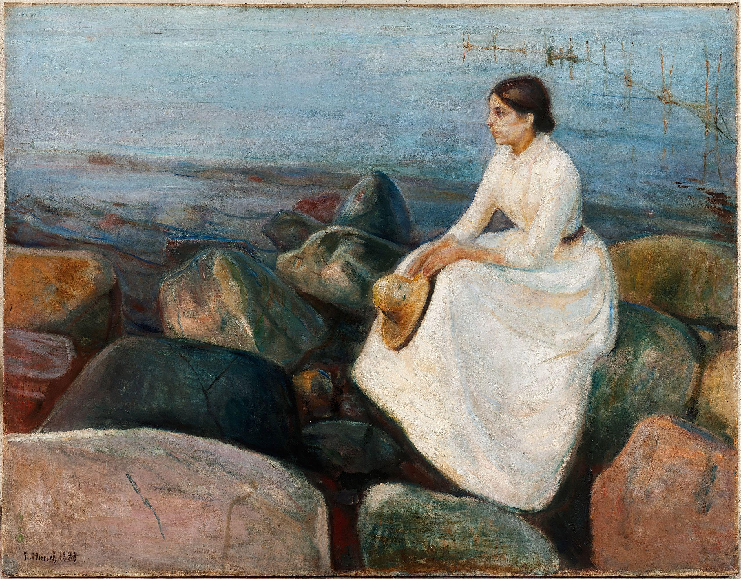Summer Night Inger On The Beach Edvard Munch 1889 Kode Art Museum Of Bergen Public Domain Edvard Munch Painting Artist