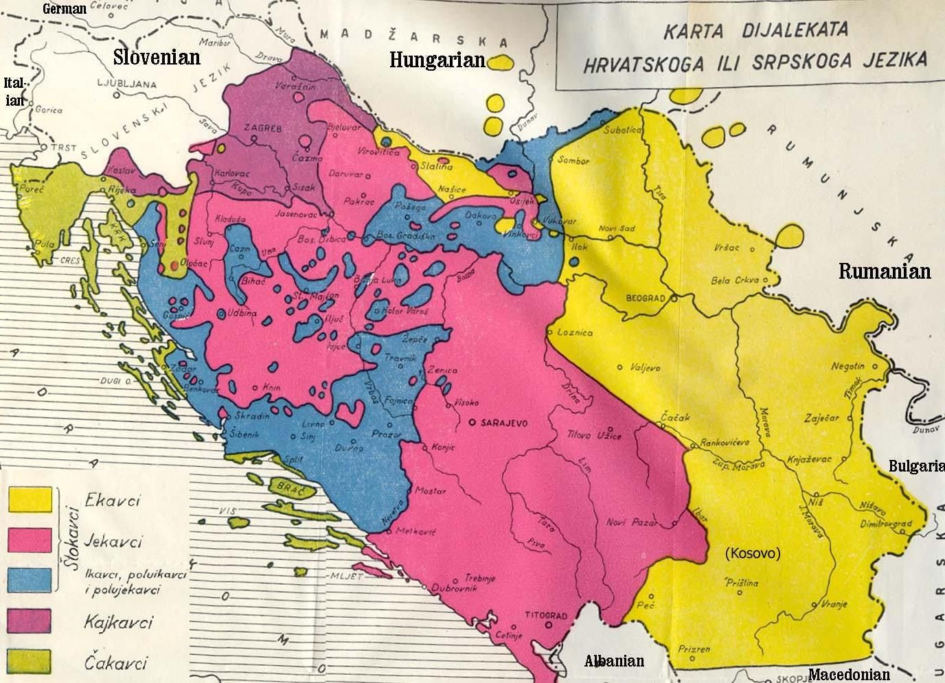 Map Of Serbo Croatian Dialects In Former Yugoslavia Idioma