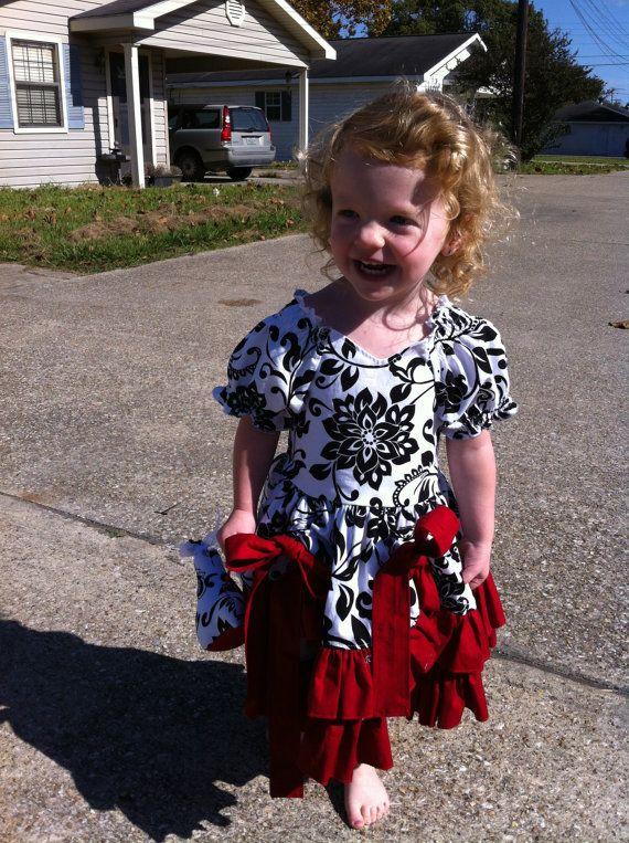 RTS Size 2T SLIM FIT Christmas Dress in  Riley Blake Black White Damask Print and Deep Red Kona Cotton Ruffles