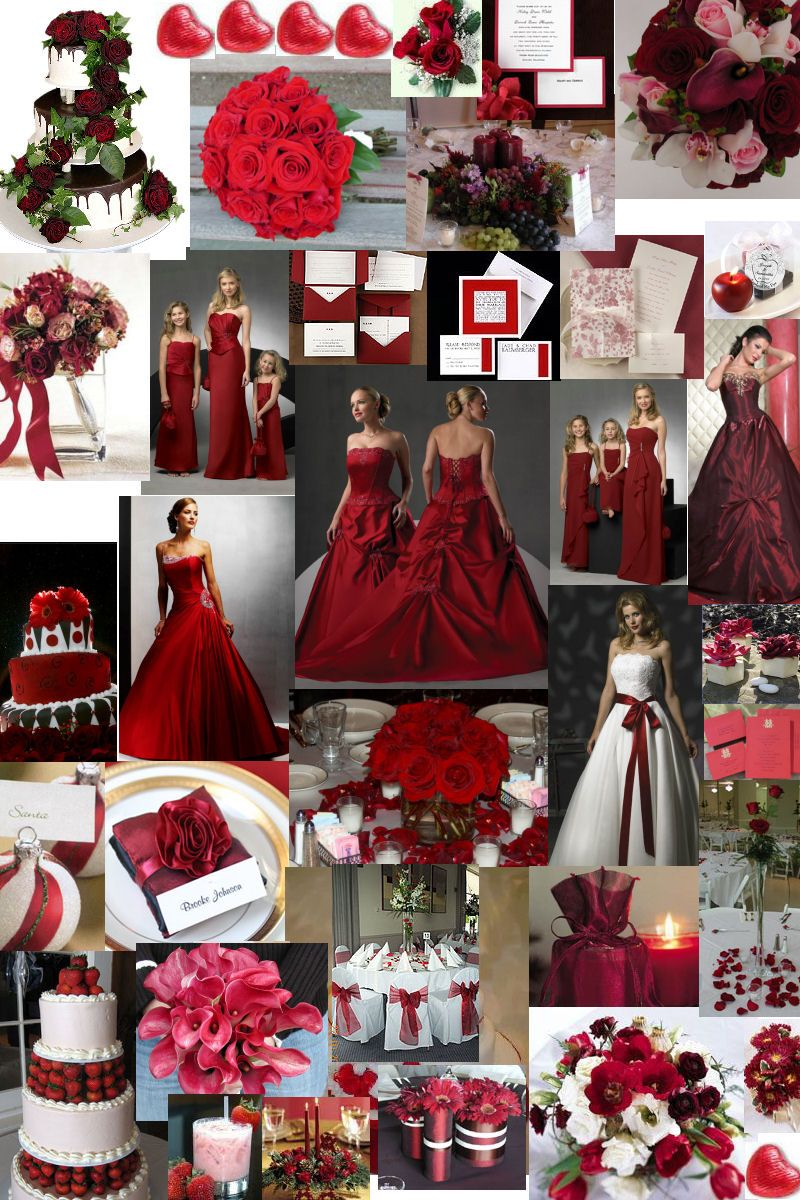 Dark Red Bridesmaid Dresses | Deep Red or Burgundy colour theme for weddings by www.glamourousgowns ...