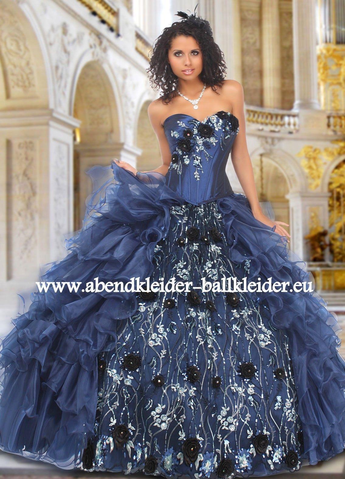 Metallic Look Abendkleid Ballkleid in Dunkel Blau | Ballkleider 2018 ...