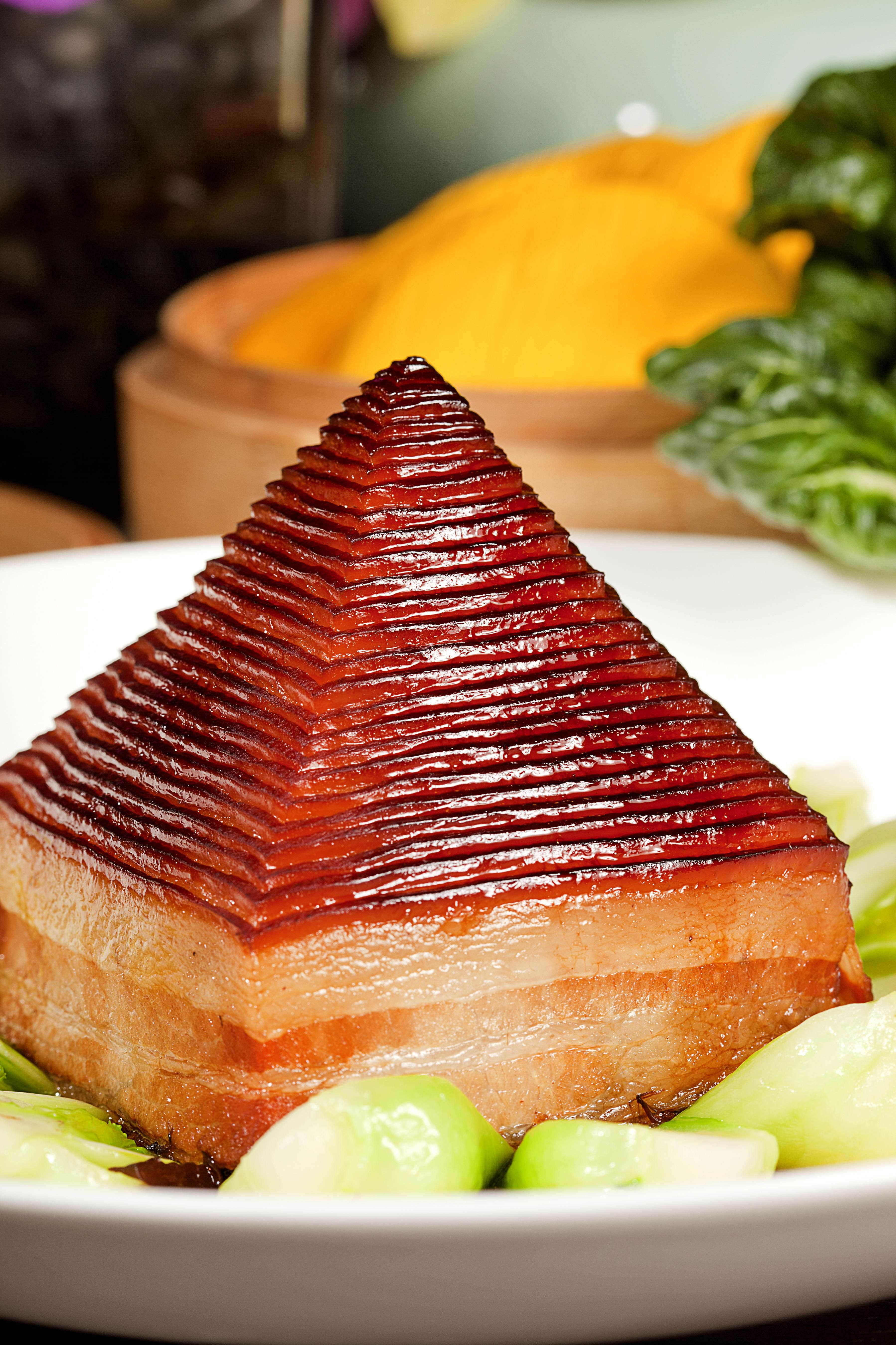 Hangzhou Signature Dish Pyramid Braised Soy Prok And Bamboo Shoot Serviced With Pumpkin Bun Food China Food Gourmet Tea