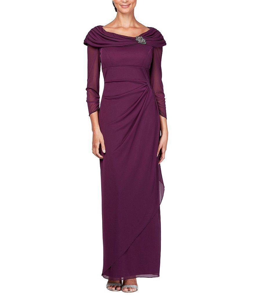 Dillards Alex Evenings 3 4 Sleeve Portrait Collar Gown Alex Evenings Dresses Gowns [ 1020 x 880 Pixel ]